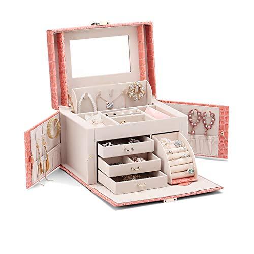 WXIANG Joyero Caja de joyería Espejo 3 cajones joyería Organizador de Gran Capacidad Maquillaje cosmético Organizador Caja Mujer Caja de joyería (Color : Pink a)