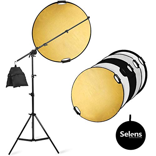 Selens Photography Reflector Boom Arm Stand kit, 32 inches 5 in 1 Reflectors with 78 inches Light Stand, Sandbag and Extendable Holder for Photo Studio Lighting