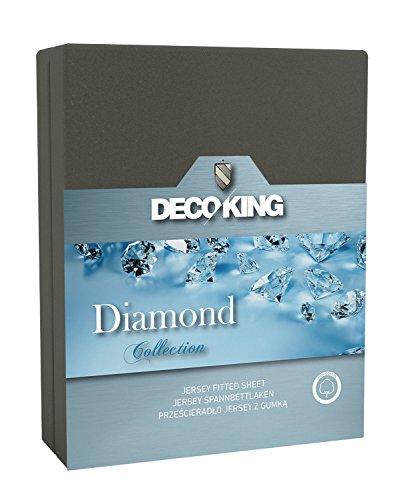 DecoKing Jersey Spannbettlaken 180x200-200x220 cm grau 100% Baumwolle Wasserbett Boxspringbett Spannbetttuch Bettlaken Betttuch dunkelgrau Graphit Stahl Diamond Collection