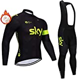 Men's Windproof Cycling Suit Thermal Fleece Winter Long Bike Pants and Long Cycling Jersey with Cycling Sports Jacket + Trousers for Cycling Riding Running