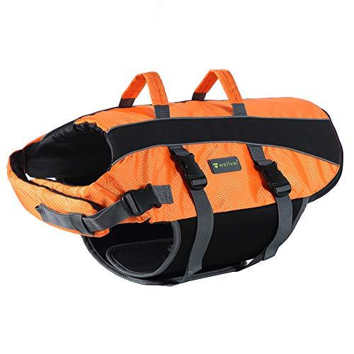 Wellver Dog Life Jacket, Pet Life Saver Swimsuit Preserver Training Vest for Swimming(NO Reflective Strip),Bright Orange,Medium