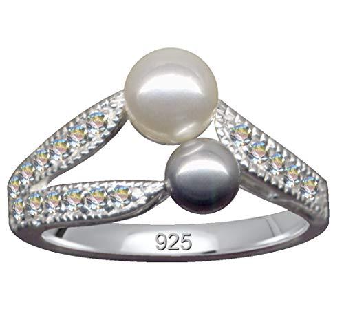 Anillo con 2 perlas de color gris y blanco, plata de ley 925, circonitas, brillantes, tamaño 55, 17,5 mm, plata de ley 925, amor, creencia, esperanza, emoción, perla, diseño