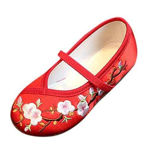 Allegorly Kinder Mädchen Ballet Ballerinas Tanzschuhe Stickerei Blume nationalen Wind Tuch Schuhe Freizeitschuhe Sandalen einzelne Schuhe Retro lässig Flache Schuhe