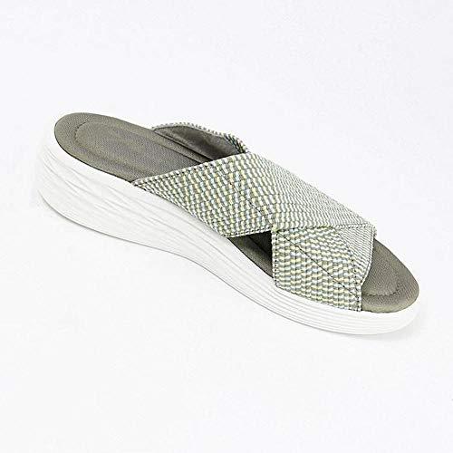 Sandalias ortopédicas cruzadas elásticas, con un pie moldeado y agarre antideslizante para un paseo cómodo, sandalias casuales de playa para comodidad y apoyo, verde_9