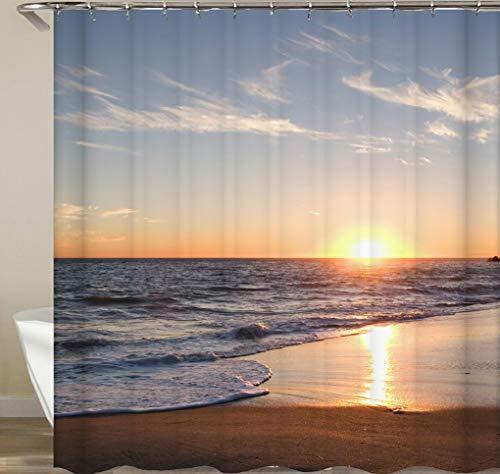 JgZATOA Ocean Beach Print douchegordijn waterdicht badgordijn badgordijn schimmelbestendig polyester blauw douchegordijn 180X200cm