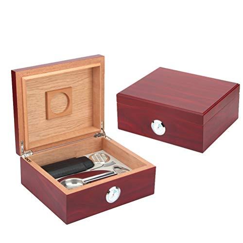 N \\ A Großer Zigarren-Humidor, Aufbewahrungsbox aus Zedernholz mit Hygrometer, Luftbefeuchter, Zigarrenetui, Aschenbecher, Zigarrenschneider und Tropfer, für 30 Zigarren