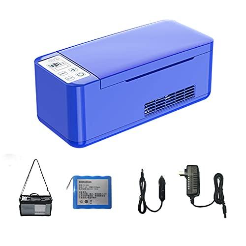 WUQIAO Enfriador de insulina portátil de 10 * 4,4 * 4,1 Pulgadas, Caja refrigerada, Pantalla Digital HD, Ventilador silencioso, Sistema de Alarma Inteligente,Azul