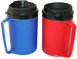 GAMA Electronics 2 ThermoServ Foam Insulated Coffee Mugs 12 oz (1) Blue & (1) Red