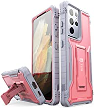 FITO for Samsung Galaxy S21 Ultra 5G Case, Dual Layer Shockproof Heavy Duty Case for Samsung S21 Ultra 5G Phone Built-in Kickstand, Without Screen Protector (Pink, 6.8 inch)