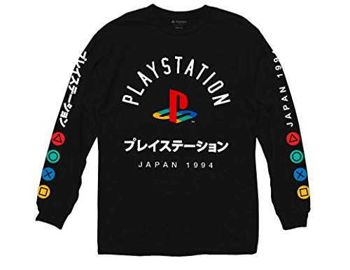 Ripple Junction Playstation Logo with Japanese Colored Button Long Sleeve Shirt XL Black