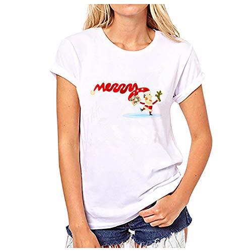 Merry Christmas Imprimee T-Shirt Manche Courte O-Neck Femme Fille Blouse Col Rond Imprime Père Noël/Arbre/Elan/Chaussette Tops Basic Tee Shirt Casual