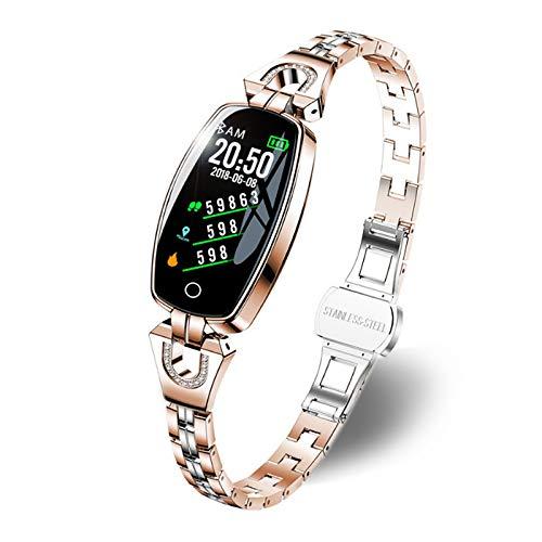 JIAHAOJJ Reloj Inteligente para Hombres Mujeres Bluetooth Smart Watch IP67 podómetro Monitor frecuencia cardíaca- Monitoreo del sueño- Fitness smartwatch para iPhone y Android (Color : Gold)