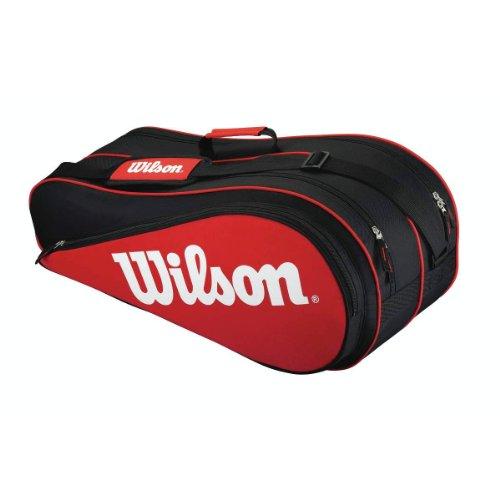 Wilson Schlägertasche Equipment II Six Racket Bag Tasche, Red/Black, 71.5 x 22 x 29 cm