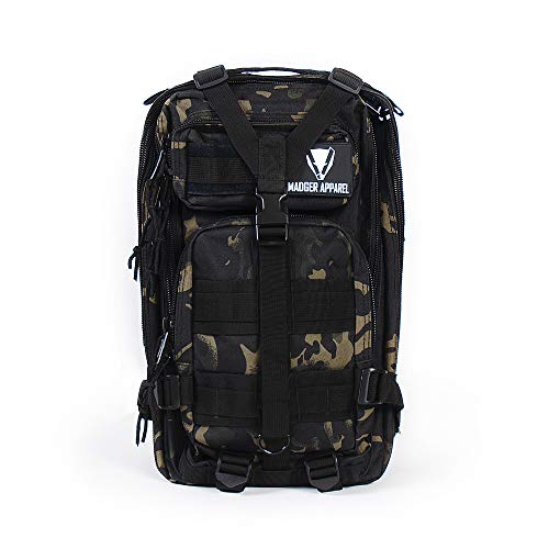 Madger Zaino 20L   Camouflage Tattico   Militare, escursionismo, Trekking, Campeggio, Bicicletta, Outdoor   Impermeabile, multi-fonctionnel