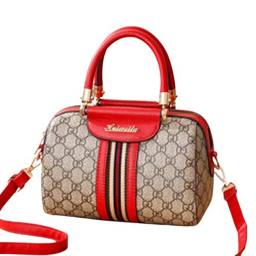 Catlena Damen Handtasche Bowlingbag (grau/rot)