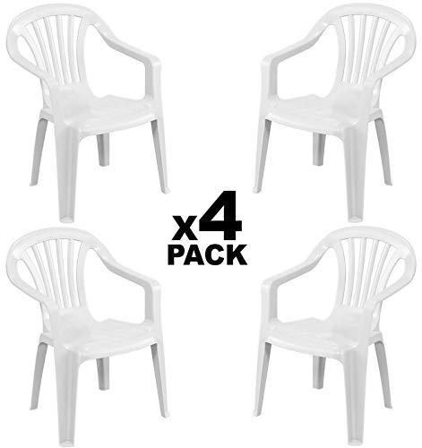 GLIFE 4X Sillas plásticas para Terraza Jardín Patio Playa Camping Blancas apilables