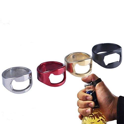Grifri - Apribottiglie per anelli da birra in acciaio inox, confezione da 22 mm (argento+nero+rosso+oro)