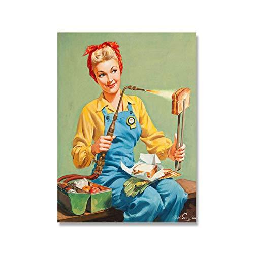 MXIBUN Vintage Käse Sandwich Toast Poster Popart Frau Küche Pin Up Mädchen Zeichen Retro Wandkunst Leinwand Malerei...