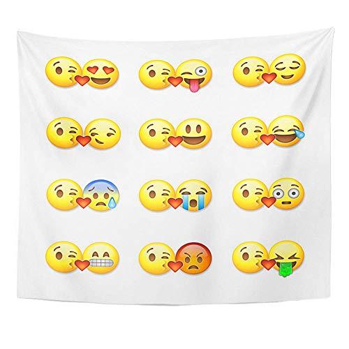 Soefipok Tapicería Tela de poliéster Imprimir Decoración para el hogar Beso Amarillo de emoticonos Corazón Emoji Amor Pareja Tapiz Tapiz para la Sala de Estar Dormitorio Dormitorio