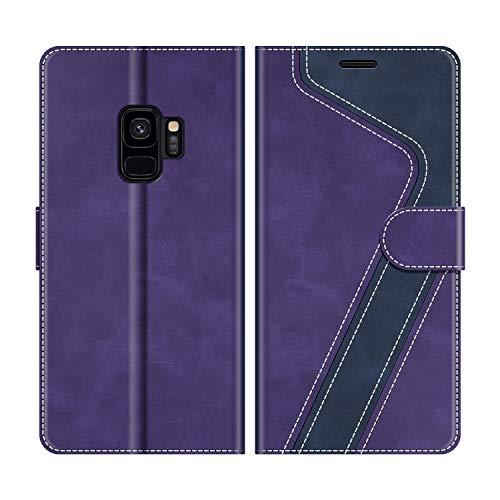 MOBESV Handyhülle für Samsung Galaxy S9 Hülle Leder, Samsung Galaxy S9 Klapphülle Handytasche Case für Samsung Galaxy S9 Handy Hüllen, Violett/Dunkelblau