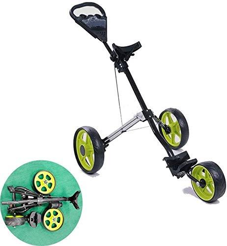 HOSUAI 3-Rad Golftrolley, Golfwagen Golf Klappbar, Golf Push Trolley, Golf Push Cart, Golf Push Cart Aus Aluminum, Golfcaddy Mit Schirmhalter Und T-Stückhalterung