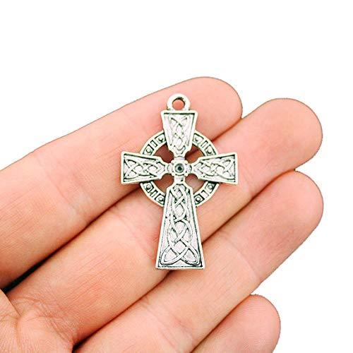 4 Celtic Cross Antique Silver Tone Charms - SC5623