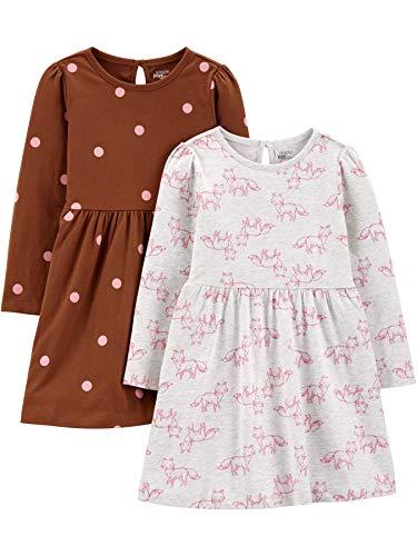 Simple Joys by Carter's 2-Pack Long-Sleeve Set Infant-and-Toddler-Playwear-Dresses, Füchse/rosa Punkte, 12 Months, 2er-Pack