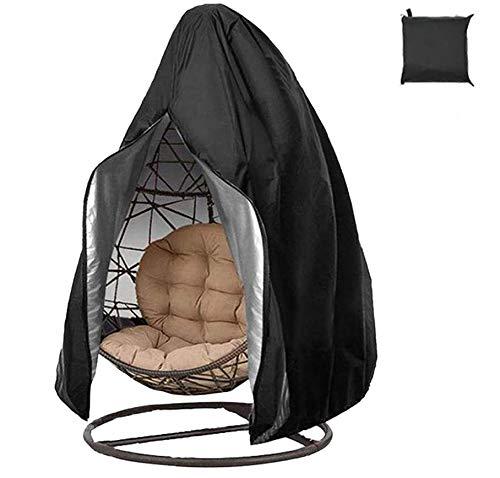 Abdeckung für Hängestuhl, 190 x 115 cm, 210D Oxford-Gewebe, mit Reißverschluss und Kordelzug, wasserdicht, staubdicht, mit Aufbewahrungstasche (ohne Stuhl)