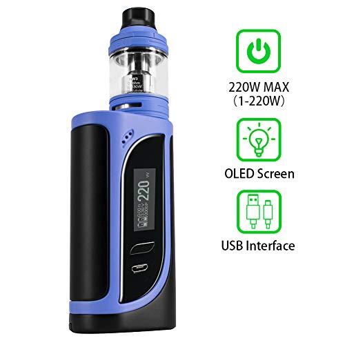 E Zigarette Eleaf iKonn 220W E Shisha Starter Set Ello verdampfer 4 ml,Kein Nikotin,Kein 18650 Batterie (Blau Schwarz)