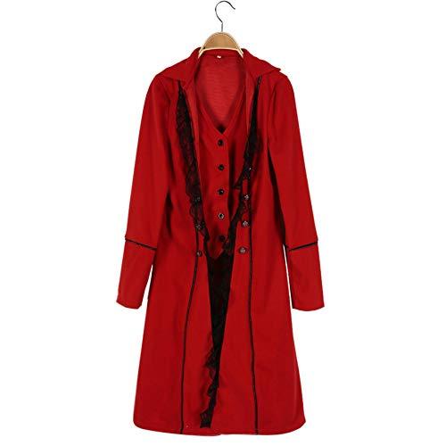 Amphia Herren Mantel Frack Jacke Gothic Gehrock Uniform Kostüm Praty Outwear