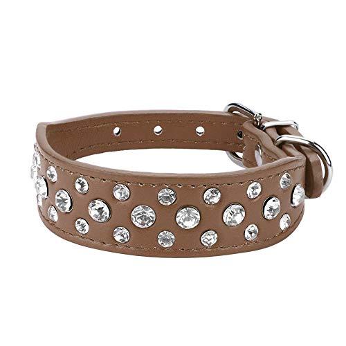 Collar de cuello para mascotas, collar de perro de diamantes de imitación de brillo ajustable Decoración de moda Bling Accesorios para sombreros para perros pequeños de tamaño mediano(Marrón m)