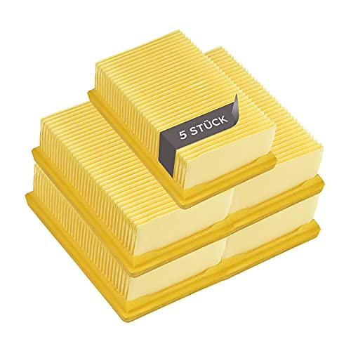 5 filtros planos de repuesto para Kärcher 2.863-005.0 WD4 WD5 WD6 MV4 MV5 MV6 Hepa filtro de aire, filtro de láminas, accesorios de repuesto para aspiradora/aspiradora de suelo / aspiradora multiusos