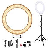 Neewer Ring Light 48cm LED Lumière Anneau Blanche 42W 3200-5600K, avec Pied, Sabot,...