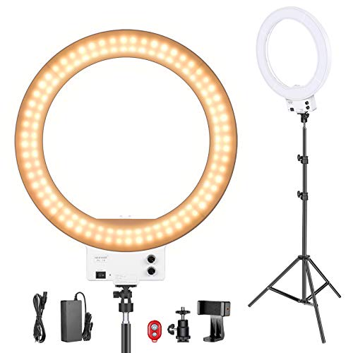 Neewer 18 Pulgadas LED Anillo de Luz Blanco con Kit de Iluminación, 42W 32000-5600K con Filtro Color, Adaptador de Zapata, Soporte para Móvil para Maquillaje, Cámara/Smartphone Disparo Video Youtube
