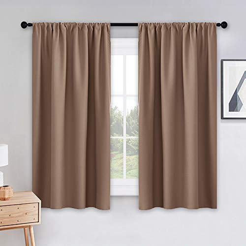 PONY DANCE Kitchen Curtains Short - Thermal Insulated Window Treatments Blackout Curtain Panels with Rod Pocket Light Block Privacy Protect for Bathroom, Wide 42 by Long 45 inches, Mocha, 2 Pieces