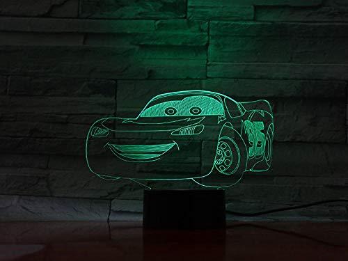 3D Ilusión óptica Lámpara LED lámpara para habitación infantil Borrador de elemento ë decoración de dormitorio regalo lámpara de noche creativa regalo Con interfaz USB, cambio de color colorido