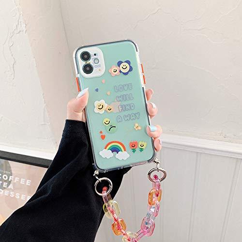 FYMIJJ Estuches para teléfono con Pulsera para iPhone 12 11 Pro MAX X XS XR 7 8 Plus SE 2020 Cubierta Trasera Suave con Cadena Colorida, b, para iPhone 12Pro