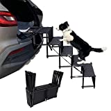 maxpama Increased Nonslip Dog Car 5 Steps for SUV, Trucks,Couch and High Beds - Durable Metal Frame Pet Stairs Support up to 150 Lbs - Lightweight Folding Pet Ladder Ramp for Indoor Outdoor Use,Black