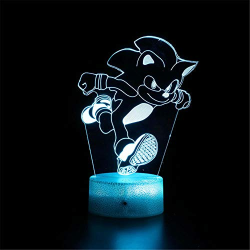 Sonic The Hedgehog A Novelty 3D Illusion Lamps LED Night Lights 3D boy Baby Creative Table Sleeping lamp