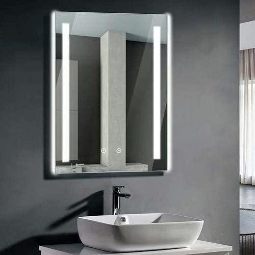 Ankishi RGB Badspiegel mit Beleuchtung, 2700LM-6500LM Dimmbar Spiegelschrank Bad, Wandspiegel 60 * 80cm Beschlagfrei mit Touchschalter, Wasserdicht IP44, Mit 240V Rasiersteckdose