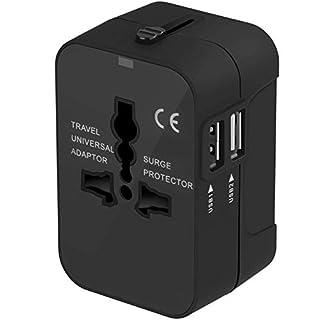 scheda adattatore da viaggio, amoner adattatore da viaggio universale con 2 porte caricabatterie usb adatto per più di 180 paesi (nero)