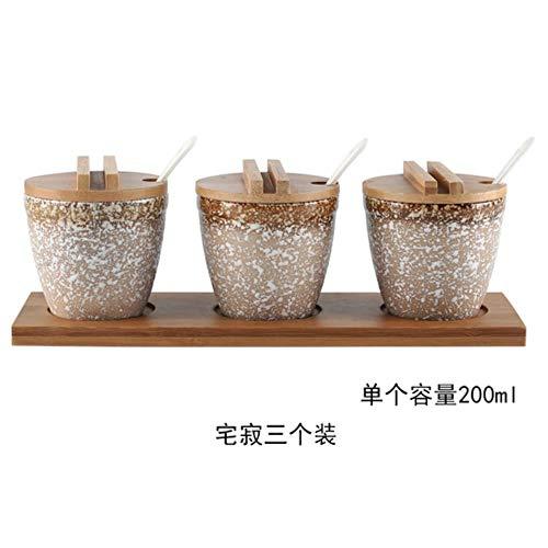 Specerijen bamboehout keramische potten saus kruiden Iva Health kruiden Pepper Pot zout spray in september keuken gereedschap,een afmeting,3 acties