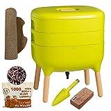 Urbalive Green Kit completo I Design Wormery I 500gr de Compost Worms I Starter Substrate I Alfombra de cáñamo + Pala I Interior, balcón y jardín