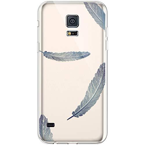 Hpory Funda para Samsung Galaxy S5, Ultra Fina Suave TPU Silicona Transparente Crystal Flexible Trasera Bumper Protección Funda Case Cover Cáscara Carcasa para Samsung Galaxy S5 Neo - Plumas Azul