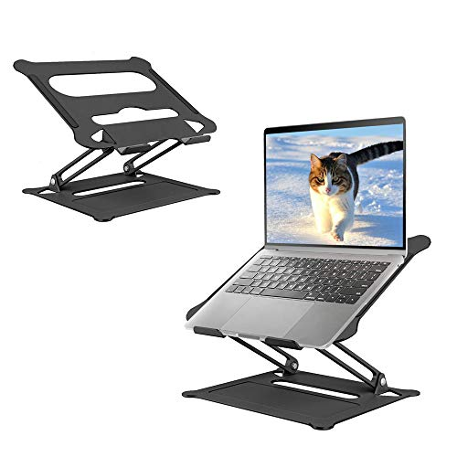Maxesla Laptop Stand Desk, Aluminum Foldable Portable Ventilated Adjustable Laptop Stand, Ergonomic Laptop Stand for Desk with Anti-Skid Design, for Laptops up to 17', Laptop Stands Black