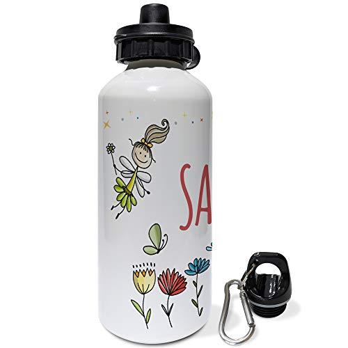 LolaPix Botella Infantil Personalizada con Nombre. Regalos Infantiles Personalizados. Botella Aluminio Personalizada. Hadas