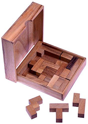 LOGOPLAY Square Puzzle - Pentomino Puzzle - Lernspiel - Denkspiel - Knobelspiel - Geduldspiel - Logikspiel aus Holz