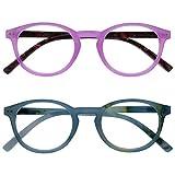 Opulize Zen Pack 2 Gafas De Lectura Rosa Turquoise Pequeño Hombres Mujeres Bisagras Resorte RR24-4Q +1,50