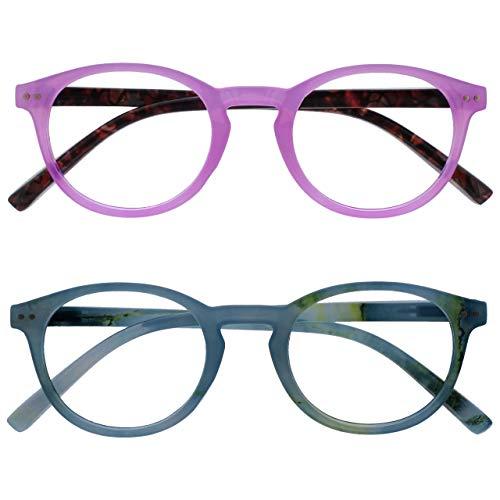 Opulize Zen Pack 2 Gafas De Lectura Rosa Turquoise Pequeño Hombres Mujeres Bisagras Resorte RR24-4Q +2,00
