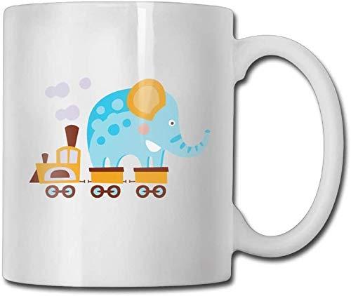 Taza de té de cerámica con diseño de elefante en un tren de 15 onzas